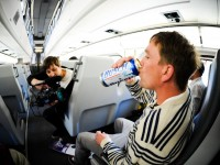 Johnny Roughneck drinking on the CalTrain