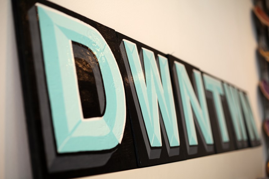 Dwntwn sign sideways