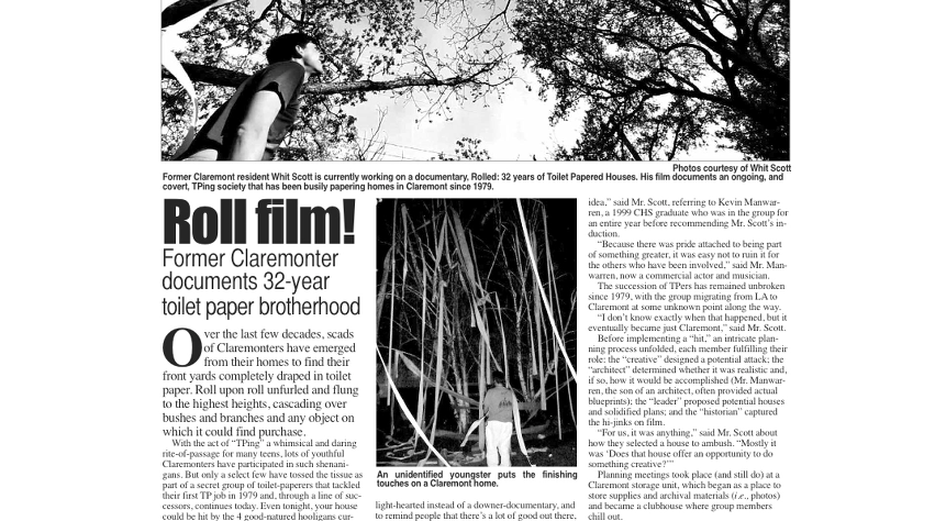 Rolled featured in the Claremont Courier.