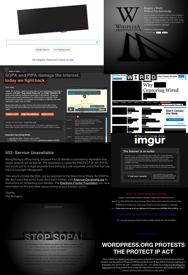 Image of Sites Going Dark for SOPA & PIPA - Homepages